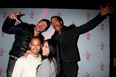 LOS ANGELES - MAR 25:  Bryton James, Guest, Daniel Goddard, Kristoff St John at the Young and Restle