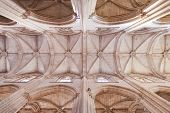 Batalha, Portugal - March 03, 2013: Batalha Monastery. Gothic ceiling and columns of the church. Portugal. UNESCO World Heritage Site.