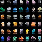 Collection set of semi-precious gemstones stones and minerals with names on black  background