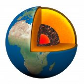 stock photo of lithosphere  - section of the planet earth with lava nucleno the Earth - JPG