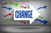 The word change against arrows pointing