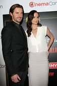 LOS ANGELES - MAR 27:  Richard Armitage, Sarah Wayne Callies at the  CinemaCon 2014 - Warners Brothe