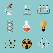 Chemistry Science Flat Icons Set