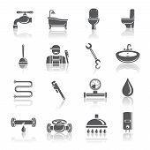 Plumbing tools pictograms set
