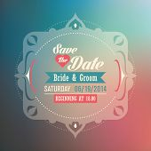 Wedding invitation card with vintage design. Vector illustration