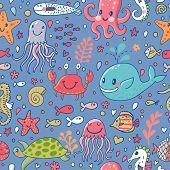 Cartoon underwater concept background with crab, fishes, whale, turtle, octopus, seahorse, corals and other marine elements. Seamless pattern can be used for wallpapers, web page backgrounds.