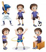 image of hulahoop  - Illustration of the different activities of a young boy on a white background - JPG