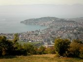 stock photo of macedonia  - Beautiful view over Ohrid town and lake in Macedonia - JPG