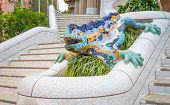 Colorful mosaic ceramic dragon in the Park Guel