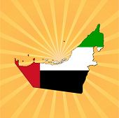 UAE map flag on sunburst vector illustration