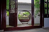 Master Of Nets Garden Seen Through Moon Gate, Suzhou, China, Oil Paint Stylization