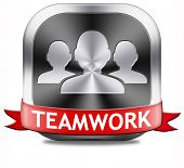 teamwork button concept, team work and cooperation in partnership working together business partners