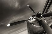 picture of propeller plane  - an old obsolete aircraft propeller bottom - JPG