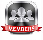 members only restricted area icon sign or sticker become a member and join here to get your membership application label or button.