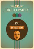 Retro disco poster. Vector illustration.