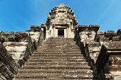 Stone Steps Leading To Angkor Wat Stone Tower, Cambodia, Asia