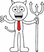 stock photo of sneaky  - Hand drawn cartoon devil businessman sneaky with pitchfork - JPG