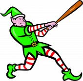 Elf Baseball Player Batting Isolated Cartoon
