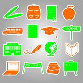 school stickers icon set eps10