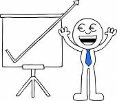 stock photo of going out business sale  - Hand drawn cartoon euro money eyes businessman hands raised up with sales chart arrow going up off chart symbolizing big profits - JPG