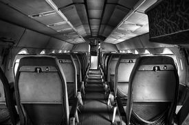 stock photo of outdated  - an old outdated passenger air inside detail - JPG