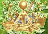 3D Financial Enlightened Guru Meditation Concept