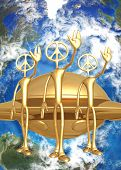3D UFO Alien Concept We Come In Peace
