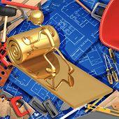 3D Home Improvement Construction Concept Installing Insulation