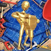 3D Home Improvement Construction Concept Jackhammer Demolition