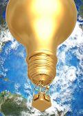 3D Globe Concept Idea Ballooning Above World