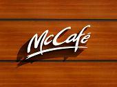 A logo of Mc Donald's