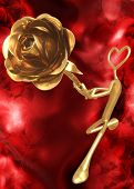 3D Valentine's Day Concept Heart Offering A Rose