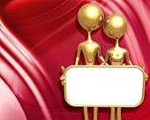 3D Presentation Concept Man & Woman Holding A Sign