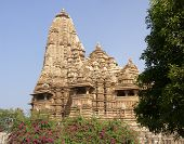 stock photo of kandariya mahadeva temple  - Exterior decorations of the Kandariya Mahadeva Temple at Khajuraho in India Asia - JPG