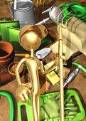 3D Gardening Concept Holding A Rake
