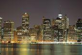Towers on Manhattan's Island at night. New York City.