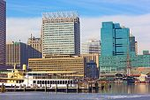 A view on Baltimore downtown landmarks from the Inner Harbor