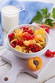 Cornflakes In Bowl With Red ?currant