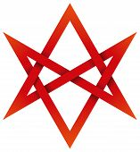 Red Unicursal Hexagram 3D