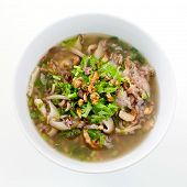 Rice Congee Mixed With Meat Or Rice Gruel With Pork, Dried Shrimp, Dried Squid And Shiitake. (thai E