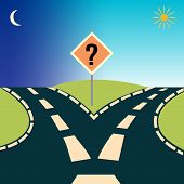 Forked Road, Depicting The Concept: Choices Or Choosing