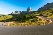 Bend at Passo Giau early morning, Dolomites, Alps, Italy