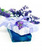 Natural Herbal Lavender Soap With Fresh Blossoms Isolated On White Background