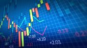 foto of stock market data  - Stock Market Chart on blue background - JPG