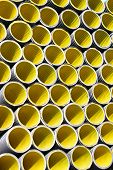 Many Yellow Corrugated Pipes For Laying Electric Cables And Optical Fibers