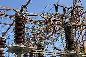 Giant High-voltage Switches And Breakers In Outdoor Power Station