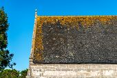 Church Roof With Orange Lichens, Saint Tugen (france)