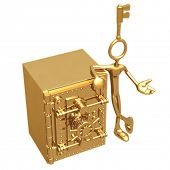 Key Presenter With Golden Bank Vault