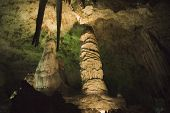 stock photo of carlsbad caverns  - limestones formations (stalactites and stalagmites) of Guadeloupe Mountains