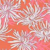 Hand Drawn Seamless Pattern With Chrysanthemum